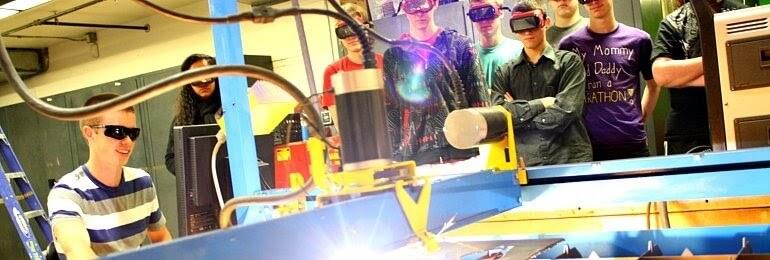 children using machinery