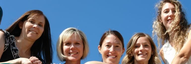 low angle of five women
