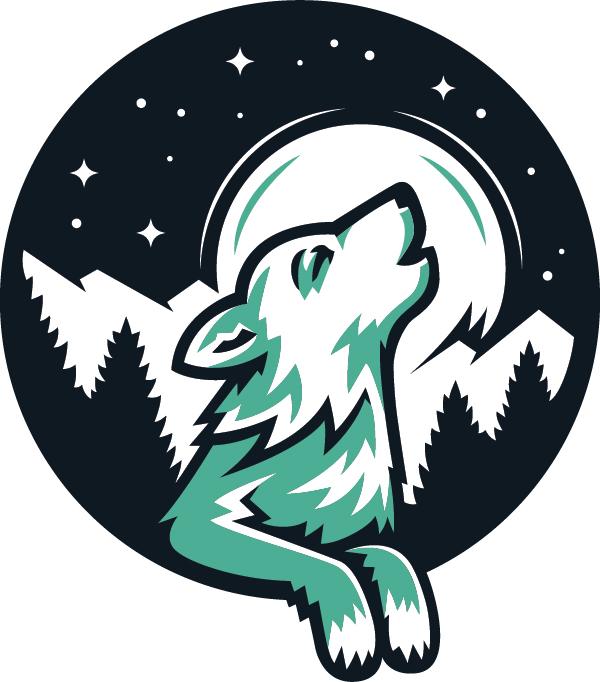 Ridges mascot logo, howling timberwolf