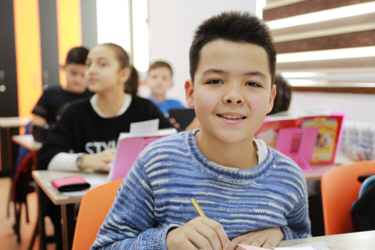 smiling child in class